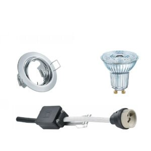 OSRAM - LED Spot Set - Parathom PAR16 927 36D - GU10 Fitting - Dimbaar - Inbouw Rond - Glans Chroom - 5.5W - Warm Wit 2700K - Kantelbaar Ø83mm-1