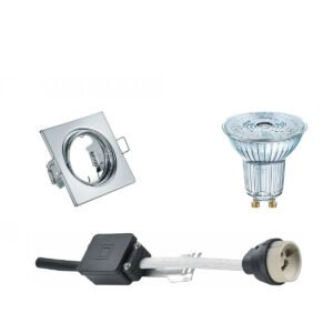 OSRAM - LED Spot Set - Parathom PAR16 927 36D - GU10 Fitting - Dimbaar - Inbouw Vierkant - Glans Chroom - 3.7W - Warm Wit 2700K - Kantelbaar 80mm-1