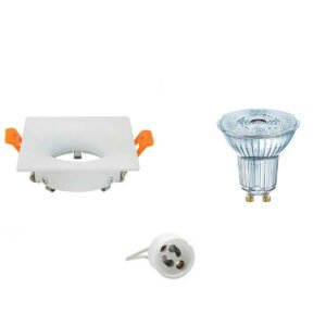 OSRAM - LED Spot Set - Parathom PAR16 927 36D - GU10 Fitting - Dimbaar - Inbouw Vierkant - Mat Wit - 3.7W - Warm Wit 2700K - 85mm-1