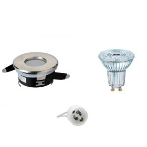 OSRAM - LED Spot Set - Parathom PAR16 927 36D - GU10 Fitting - Waterdicht IP65 - Dimbaar - Inbouw Rond - Mat Chroom - 5.5W - Warm Wit 2700K - Ø82mm-1