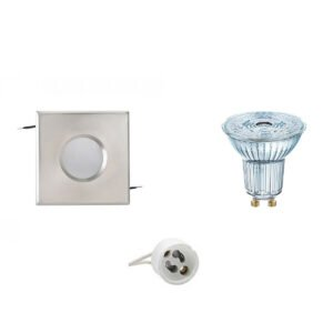 OSRAM - LED Spot Set - Parathom PAR16 927 36D - GU10 Fitting - Waterdicht IP65 - Dimbaar - Inbouw Vierkant - Mat Chroom - 3.7W - Warm Wit 2700K - 82mm-1