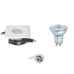 OSRAM - LED Spot Set - Parathom PAR16 930 36D - GU10 Fitting - Waterdicht IP65 - Dimbaar - Inbouw Vierkant - Mat Wit - 3.7W - Warm Wit 3000K - 82mm-1