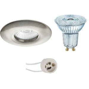 OSRAM - LED Spot Set - Parathom PAR16 930 36D - Pragmi Luno Pro - Waterdicht IP65 - GU10 Fitting - Dimbaar - Inbouw Rond - Mat Nikkel - 3.7W - Warm Wit 3000K - Ø82mm-1