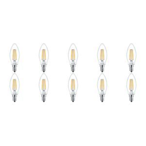 PHILIPS - LED Lamp Filament 10 Pack - Classic LEDCandle 827 B35 CL - E14 Fitting - Dimbaar - 5W - Warm Wit 2700K | Vervangt 40W-1