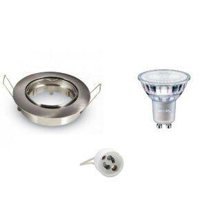 PHILIPS - LED Spot Set - Aigi - MASTER 927 36D VLE - GU10 Fitting - DimTone Dimbaar - Inbouw Rond - Mat Chroom - 3.7W - Warm Wit 2200K-2700K - Kantelbaar Ø82mm-1