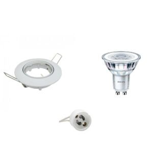 PHILIPS - LED Spot Set - CorePro 827 36D - GU10 Fitting - Inbouw Rond - Glans Wit - 4.6W - Warm Wit 2700K - Kantelbaar Ø82mm-1