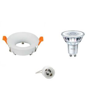 PHILIPS - LED Spot Set - CorePro 830 36D - GU10 Fitting - Dimbaar - Inbouw Rond - Mat Wit - 4W - Warm Wit 2700K - Ø85mm-1