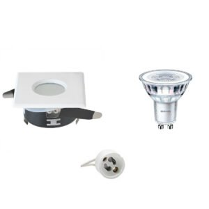 PHILIPS - LED Spot Set - CorePro 830 36D - GU10 Fitting - Waterdicht IP65 - Dimbaar - Inbouw Vierkant - Mat Wit - 4W - Warm Wit 2700K - 82mm-1