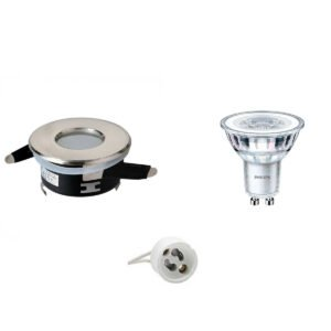 PHILIPS - LED Spot Set - CorePro 830 36D - GU10 Fitting - Waterdicht IP65 - Inbouw Rond - Mat Chroom - 4.6W - Warm Wit 3000K - Ø82mm-1