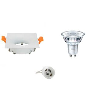 PHILIPS - LED Spot Set - CorePro 840 36D - GU10 Fitting - Dimbaar - Inbouw Vierkant - Mat Wit - 5W - Natuurlijk Wit 4000K - 85mm-1