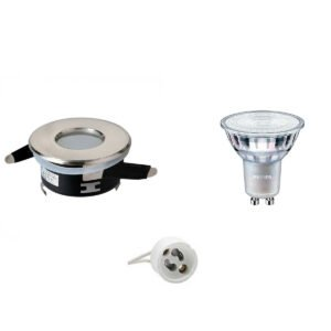 PHILIPS - LED Spot Set - MASTER 927 36D VLE - GU10 Fitting - Waterdicht IP65 - DimTone Dimbaar - Inbouw Rond - Mat Chroom - 3.7W - Warm Wit 2200K-2700K - Ø82mm-1