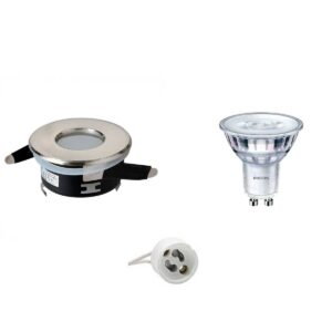 PHILIPS - LED Spot Set - SceneSwitch 827 36D - GU10 Fitting - Waterdicht IP65 - Dimbaar - Inbouw Rond - Mat Chroom - 1.5W-5W - Warm Wit 2200K-2700K - Ø82mm-1