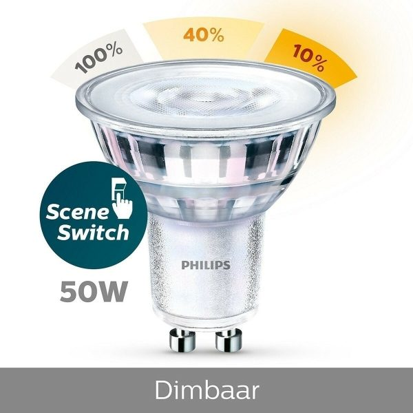 PHILIPS - LED Spot Set - SceneSwitch 827 36D - Pragmi Pollon Pro - GU10 Fitting - Dimbaar - Inbouw Vierkant - Mat Zwart - 1.5W-5W - Warm Wit 2200K-2700K - Verdiept - 82mm-4