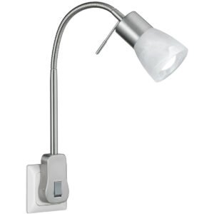 Stekkerlamp Lamp - Trion Levino - E14 Fitting - 6W - Warm Wit 3000K - Mat Nikkel - Aluminium-1