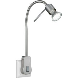Stekkerlamp Lamp - Trion Loany - GU10 Fitting - 5W - Warm Wit 3000K - Dimbaar - Mat Nikkel - Aluminium-1