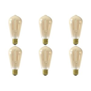 CALEX - LED Lamp 6 Pack - Smart LED ST64 - E27 Fitting - Dimbaar - 7W - Aanpasbare Kleur - Goud-1