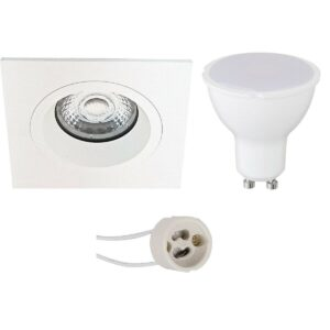 LED Spot Set - Pragmi Rodos Pro - GU10 Fitting - Dimbaar - Inbouw Vierkant - Mat Wit - 6W - Warm Wit 3000K - 93mm-1