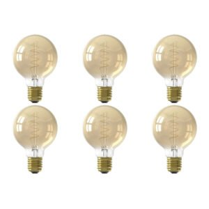 CALEX - LED Lamp 6 Pack - Globe - Filament G80 - E27 Fitting - Dimbaar - 4W - Warm Wit 2100K - Goud-1