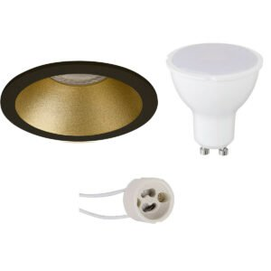 LED Spot Set - Aigi - Pragmi Pollon Pro - GU10 Fitting - Inbouw Rond - Mat Zwart/Goud - 8W - Warm Wit 3000K - Verdiept - Ø82mm-1