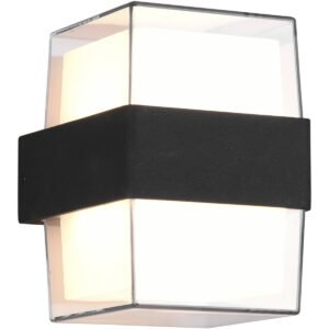 LED Tuinverlichting - Wandlamp Buitenlamp - Trion Mollo Up and Down - 4W - Warm Wit 3000K - 1-lichts - Rond - Mat Antraciet - Aluminium-1